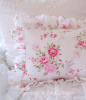 RACHEL ASHWELL SHABBY CHIC WILDFLOWER BOUQUET PINK ROSES RUFFLED PILLOW SHAM